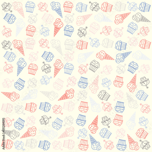 """Seamless Ice Cream Background Vintage Style: """"hand Drawn Ice Cream And Muffin Seamless Pattern. Vector"""