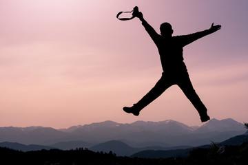 zıplayan fotoğrafçı silüet
