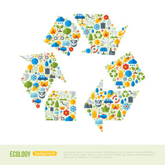 Recycling Symbol Flat Icons Concept.