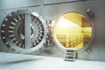 Bank vault with gold stacks