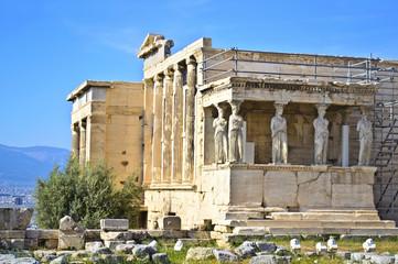 Erechtheion temple in Acropolis Athens Greece - caryatids statue Greece