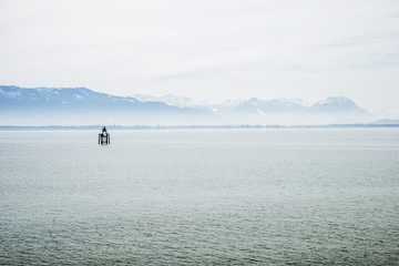lake constance Bodensee and alps with blue sky and clouds in Bavaria, Germany