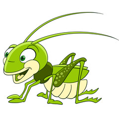 cute and funny smiling cartoon grasshopper (locust, katydid), isolated on a white background