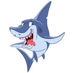 dangerous and cunning predatory cartoon shark is ready to attack, isolated on a white background