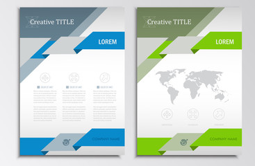 Vector brochure template. A4 format layout. Home page and more. Infographics, headers, stylish appearance