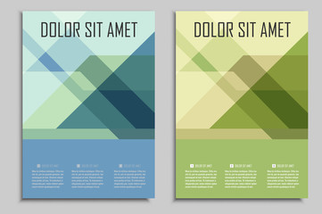 Vector brochures template for presentations, covers, books and business documents. Beautiful geometric design