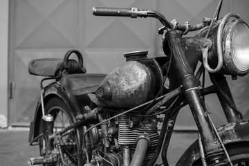 Photoshoot of old rusty vintage motorcycle