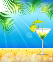 Beach and tropical sea with cocktail