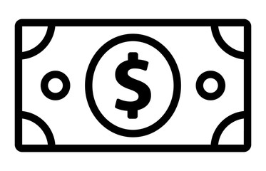 American dollar bill line art icon for financial apps and websites
