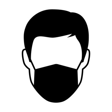 Face mask or medical breathing mask flat icon for apps and websites