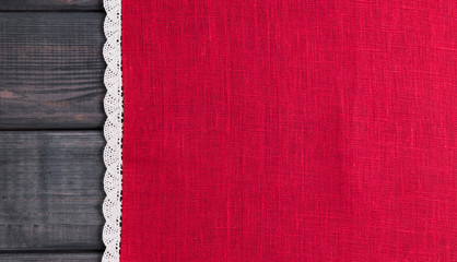 red cloth with white linen woven handmade lace