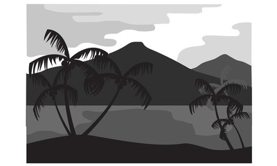 Silhouette coconut tree with mountain background