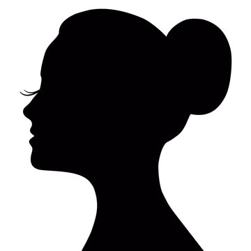 Vector profile of a beautiful girl, logo design. Woman's face with long lashes and neat bun hairstyle (ballet bun).