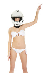 Woman in motorcycle helmet.