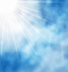 Illustration nature background blue sky and sun