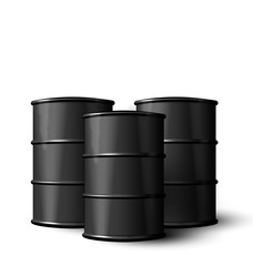 Three Realistic Black Metal of Oil Barrels Isolated