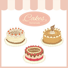 Vector the cake products for the bakery cafe shop.Isolated objects and pastel tone colors.