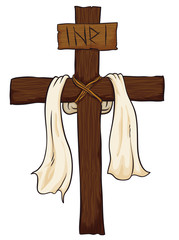 Wooden Holy Cross with Fabric and INRI sign, Vector Illustration