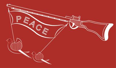 Bird with gun line art Drawing