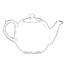 Vector Single Sketch Teapot