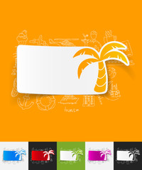 palm paper sticker with hand drawn elements