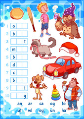 Education rebus game for preschool kids.