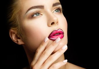 Beautiful Professional Makeup. Pink Lips and Smoky Eyes Make up.