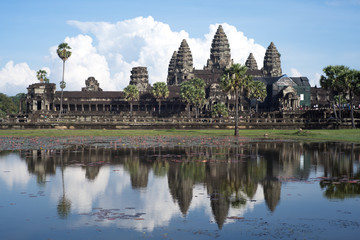 angkor wat and reflex in the water
