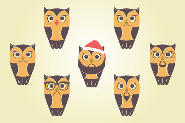Vector Owls In Red Santa`s Hat. Owls With Mustaches, Beards and Glasses.