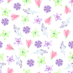 A seamless floral pattern with watercolor hand-drawn pink, green and purple spring flowers, painted on a white background