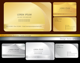 Gold and silver Personal business cards set