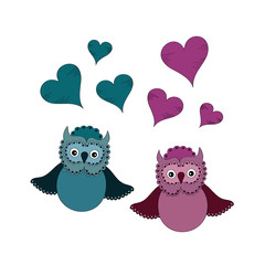 Owls couple in love vector illustration