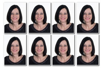 Passport picture of a woman with  dark hair - 8 photos