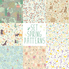 Set spring seamless patterns. 8 different backgrounds with hand-painted flowers and animals.