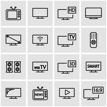Vector line tv icon set. TV Icon Object, TV Icon Picture, TV Icon Image - stock vector