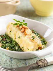 Cod fillet with spinach