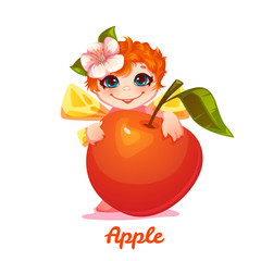 Sweet fairy with red apple. Vector illustration. Flat style.