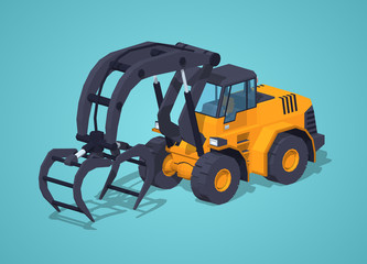 Yellow log loader against the blue background. 3D lowpoly isometric vector illustration
