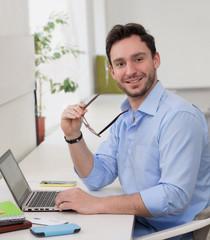 Male freelancer  smiling