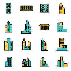 Trendy flat line icon pack for designers and developers. Vector line building icon set, building icon object, building icon picture, building image - stock vector