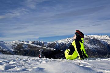 young man enjoying winter skiing
