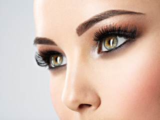 Beautiful Woman's eyes with brown eye makeup