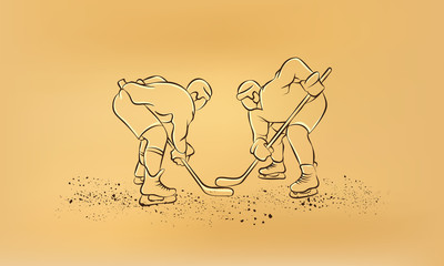 Hockey players are preparing for the face-off. Vector retro draw