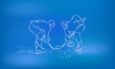 Hockey players are preparing for the face-off. Sports background