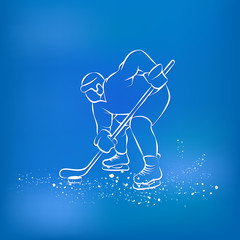 Hockey player ready to play. Sports background.