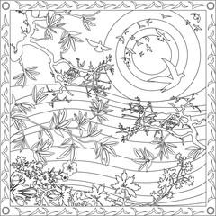 Page Coloriage pour Adultes Livre Design Motif Paysage Japonais Oiseaux Vecteur Illustration