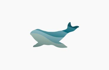 Whale logo. Creative logo. Sea logo. Water logo design. Ocean logo. Animal logo.