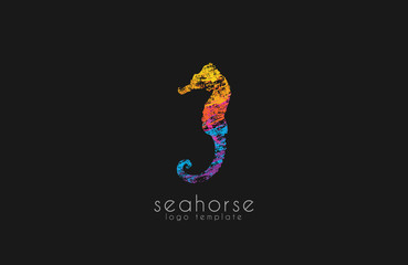 Seahorse logo. Sea logo. Water logo. Ocean logo. Beautiful logo. Colorful logo design. Creative logo