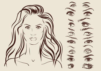 eyes set, girl character woman portrait on background. Vector
