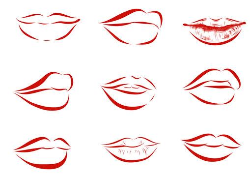 Set of isolated red women lips on light background. Vector illustration.